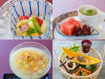 夏のスタンダード会席一例:冷し物夏野菜と魚介のカクテル、先付とうもろこしゼリー寄せ、前菜、水菓子