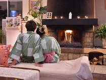◆ロビーの暖炉を眺めて、心あたたまるご滞在