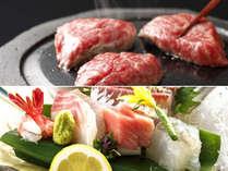 能登牛ステーキに、日本海の旬魚のお造りで、当地のグルメをお楽しみ下さい