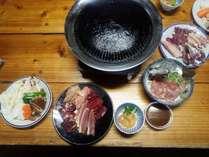 いのしかちょうの鉄板焼き(写真のお肉は2人前)