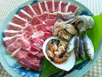 【BBQ食材一例】地元の獲れたて新鮮魚介&霜降り上カルビを自家製タレでお楽しみください♪