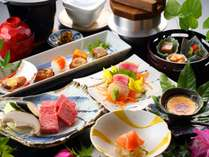 【夕食】四季折々の食材を使った創作会席。料理は仕入れ状況で変更有り。/写真は一例