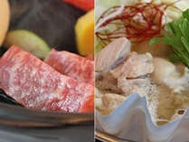 【国産牛ステーキと選べる鍋】ブランド豚味噌鍋orブランド鶏のぷるぷるコラーゲン鍋