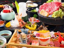 春の基本会席料理のイメージ。季節の野菜入りすき焼きが人気メニュー。