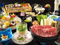 上州牛すき焼き、白子豆腐、鮎の塩焼きと夏の限定献立