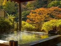 色づく山並みを眺めながら、伊香保の名湯黄金の湯でゆったりとしたひと時。