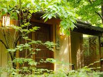 ~玄関 日中~ 木々に囲まれた玄関、外界と遮断されたくつろぎの時間への一歩はここから。