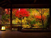 ~貸切風呂 水長(すいちょう)の湯~ 目の前に広がる紅葉はまるで一枚の絵画を思わせます。