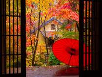 ~玄関前 秋~ 色づく紅葉のアプローチを抜けた先には、くつろぎ空間への入口があります。