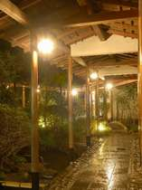 館内に広がる渡り廊下と中庭。客室も点在しプライベート充実