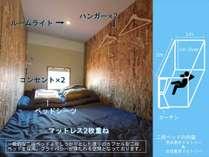 【ベッド内の設備】カプセル型二段ベッドを採用。プライバシーが保たれる空間となっております