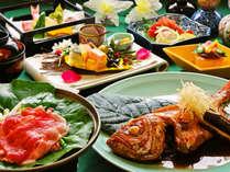 *【夕食一例】伊豆肉・金目鯛/伊豆産の旬な食材を丁寧に扱ってお作りいたしました。