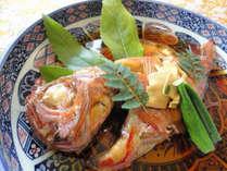 *【夕食一例】金目鯛煮付け/料理宿介山で特に好評を頂いている金目鯛の煮付けは絶品です!