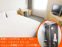 禁煙スーペリアダブル【11階以上】(18平米・ベッド幅160センチ・多機能シャワーブース・バスタブなし)