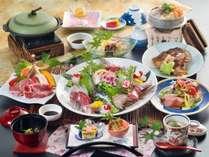 牛焼きしゃぶと瀬戸内鯛使用の旬会席※お刺身は3名盛りです。