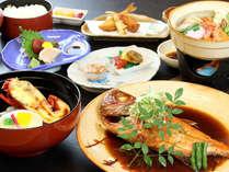 *金目鯛の煮付けと伊勢海老半身付のグレードアップ料理。お口の中に旨味が広がります♪-料理一例-