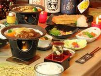 夕食一例 美味しいお米を生かす創作料理の数々