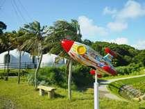 宇宙芸術祭用に制作したロケットのオブジェとドームハウスの外観