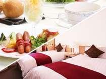朝食はホテル自慢の和洋選べるバイキング☆朝日が差し込む店内で、朝のひと時をお過ごしください。