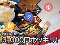 室数限定!1泊2食付3000円ポッキリプラン♪