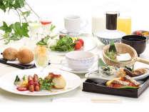 有機野菜をふんだんに使用した朝食はブッフェスタイルでご用意しております。