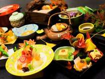 旬の食材を使用した季節感満載の料理を楽しめます。(秋の料理の一例)