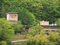 外観。5月から始まる新緑~で輝く鹿教湯温泉。森林浴で癒しのひとときを。