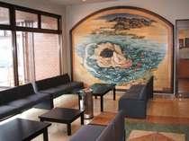 滋賀に伝わる「比良八荒」を描いた陶板を展示しております。