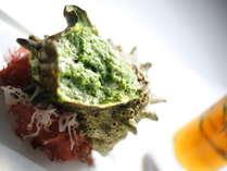 鎌倉フレンチ サザエ料理一例