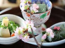 早春の会席料理 前菜 一例