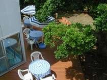 木々に囲まれた中庭
