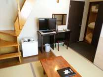 1階は畳、ロフトを上がるとベッドがある「メゾネット」