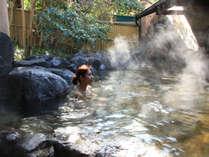 【露天風呂】雄大な由布岳を眺望できる露天風呂