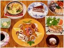 パエリアコースのお料理例(パエリアとグラタンは2人盛) ☆旬の追加サービス付