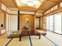 【水芭蕉】展望風呂付客室~12畳客室 裾花川沿い(写真右側がテラス)
