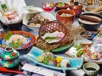 瀬戸内の海の幸に鈍川名物いのぶたの小鍋の付いた会席料理です。(例)