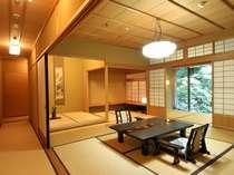 【秋の館/特別室/蓬莱の間】和室2間で檜のお風呂がございます。