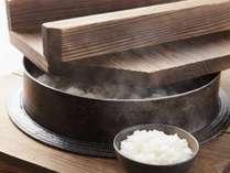 !△レストラン ル・トリアノンの朝食では新潟県魚沼の水と米を使用した「羽釜のごはん」をご用意!
