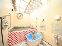 ワンちゃんも一緒に入浴できる「元気の湯」は、ペット専用の小さな湯船が付いています。