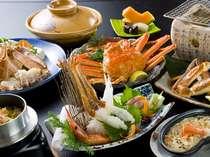 王道☆カニのフルコース例。やっぱり王道が一番!ボイル・かに鍋・焼き蟹・更に鮑のお造りも付いて贅沢に♪