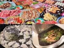 夕食バイキング(写真はイメージです)大漁鍋や天ぷら、お寿司、お刺身などお楽しみください