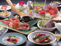 ど~んと海幸【月下美人】 鯛姿造りと旬魚盛込、鯖、鯛のアラ汁、ぐじ、すわい蟹姿盛りなど!