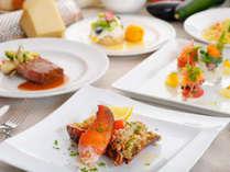 【宇宙コース】。神戸ビーフと新鮮な活オマール海老をご堪能いただけるスペシャルなコース料理(一例)