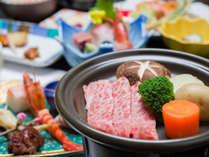 *上カルビ付きプラン。旬の食材を活かした加賀料理に、和牛(上カルビ)をプラス!