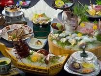 伊勢海老お造り付会席料理季節の貝ワイン蒸し付会席