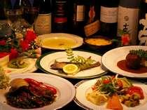 地元で取れるものを優先して使う欧風家庭料理コースは全て日替わりで♪日によって出るものが変わりますよ♪
