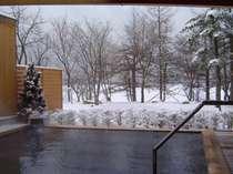 展望露天風呂から望む女神湖は冬期全面結氷をし、周りは静寂に包み込まれます。
