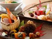 ある秋の日の和食会席一例。旬の味覚を彩り良く盛り付けます。