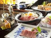 会席料理は旬の食材と季節感を大事に・・ 写真は「こだわりの上質飛騨牛囲炉裏会席」