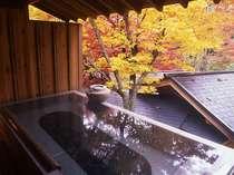 若葉の湯。ここまで紅葉を間近で楽しめる露天風呂は全国でも珍しい